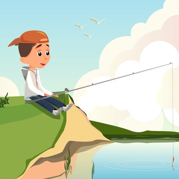 Cartoon boy fisher sit river bank hold hengel Premium Vector