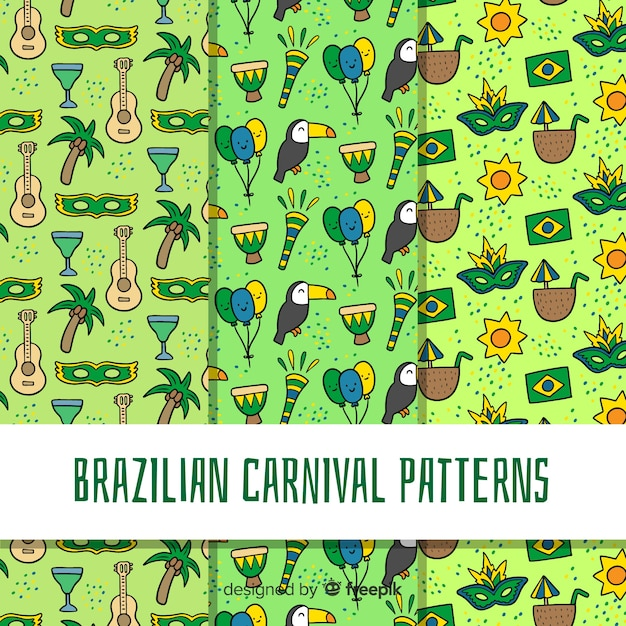 Cartoon braziliaanse carnaval patroon Gratis Vector