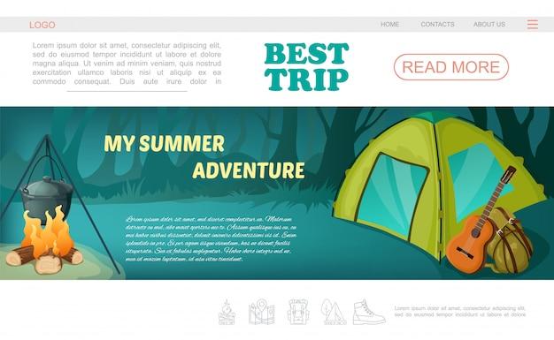 Cartoon camping webpagina sjabloon met navigatie menu tent gitaar rugzak en pot in brand Gratis Vector