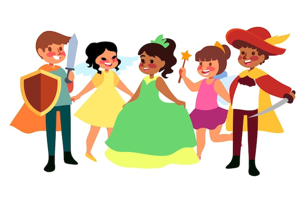 Cartoon carnaval kids collectie Gratis Vector