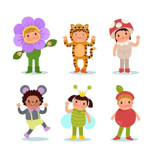 Cartoon carnaval kinderen set Gratis Vector