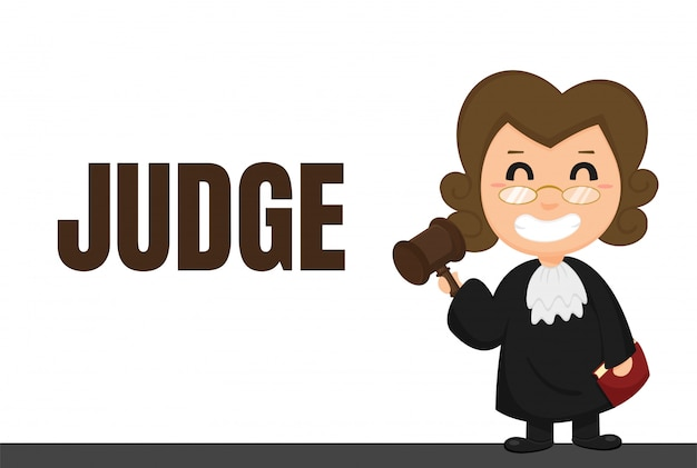 Cartoon carrière. rechters of advocaten in uniformen met rechterlijke beslissingen. Premium Vector