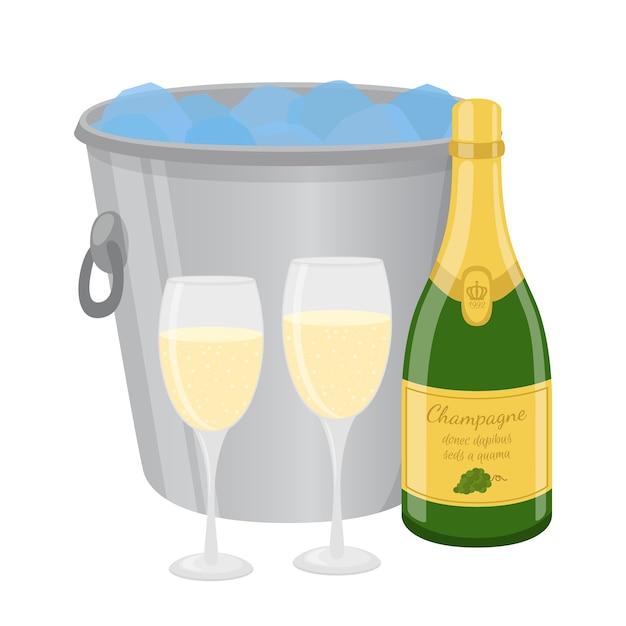 Cartoon champagne in ijsemmer Premium Vector