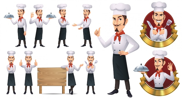 Cartoon chef-kok mascotte Premium Vector