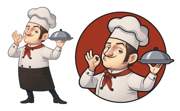 Cartoon chef logo illustratie Premium Vector
