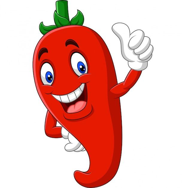 Cartoon chili peper duimen opgevend Premium Vector