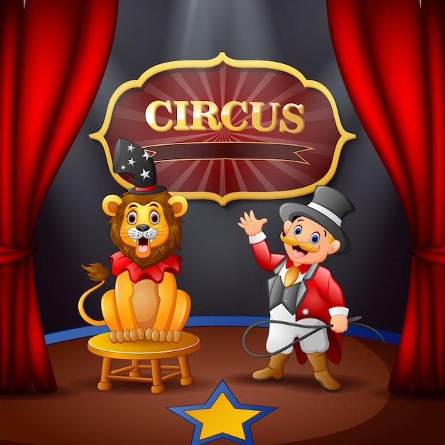 Cartoon circusdirecteur en een leeuw op het circuspodium Premium Vector