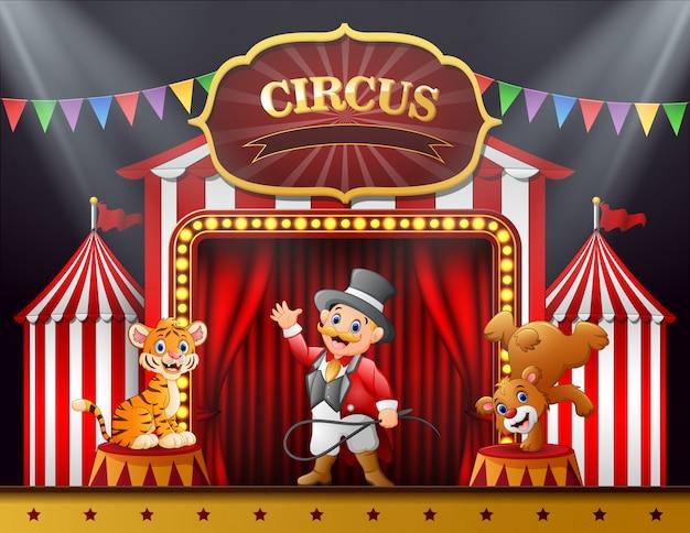 Cartoon-circusdirecteur en veel dierenoptredens op het podium Premium Vector