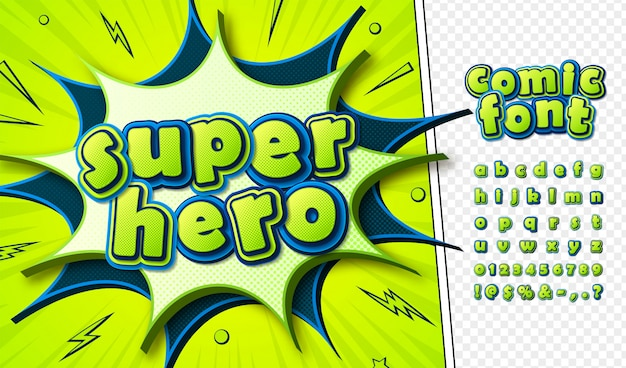 Cartoon comics lettertype Premium Vector