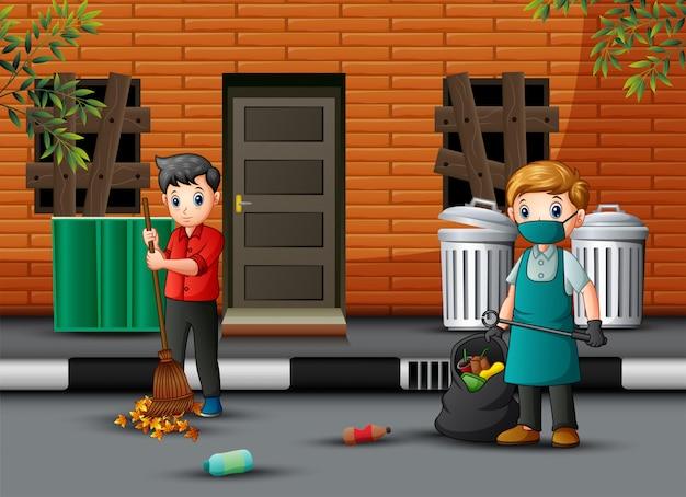 Cartoon conciërge man met een bezem opruimen van de weg Premium Vector
