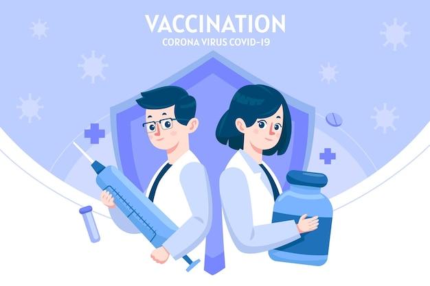 Cartoon coronavirus vaccin illustratie Gratis Vector