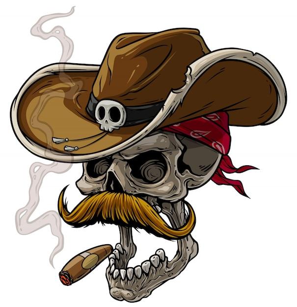 Cartoon cowboy schedel met hoed, snor en sigaar Premium Vector