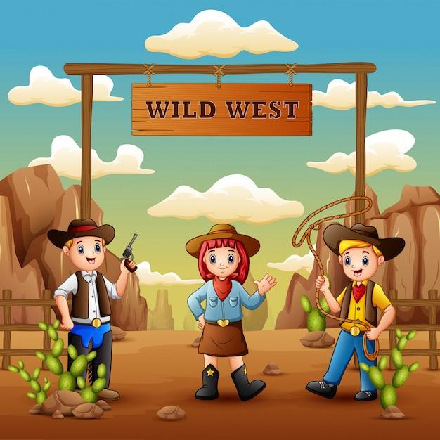 Cartoon cowboys en cowgirl in het wilde westen Premium Vector