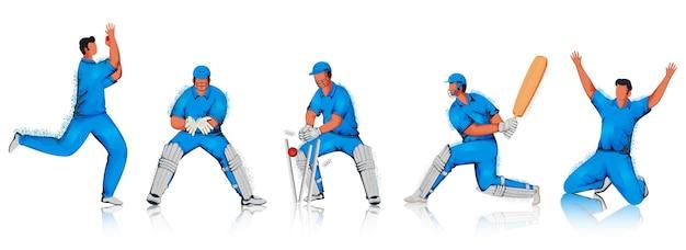 Cartoon cricket players team in verschillende poses met geluidseffect op witte achtergrond Premium Vector