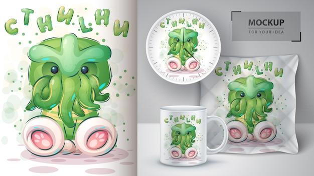 Cartoon cthulhu poster en merchandising. Gratis Vector