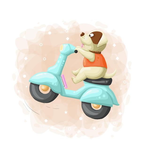 Cartoon cute dog ride scooter illustratie vector Premium Vector