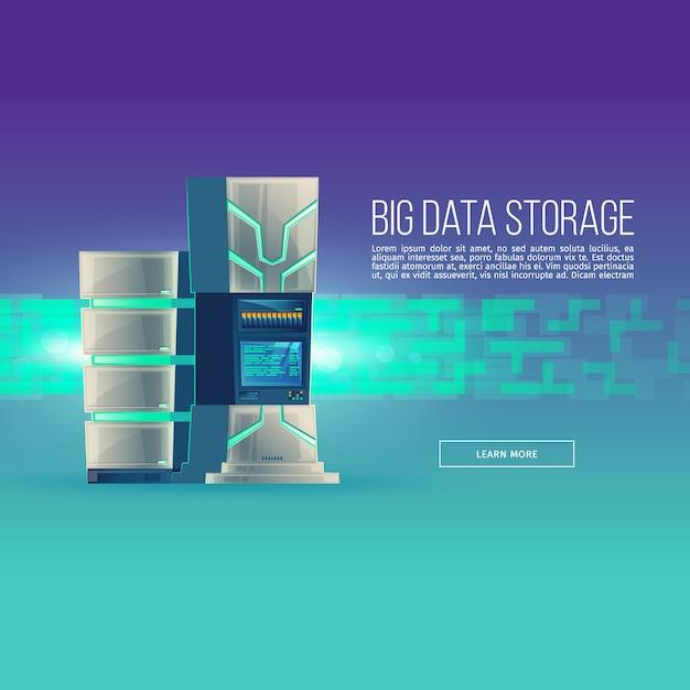Cartoon database centrum. controlekamer met serverrack - grote gegevensopslag. Gratis Vector