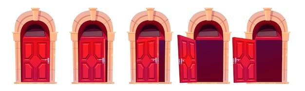 Cartoon deur openen motion sequentie animatie. sluit, op een kier staan en open houten rode deuropeningen met stenen boog en glazen raam. home gevel ontwerpelement, ingang. vector illustraties instellen Gratis Vector