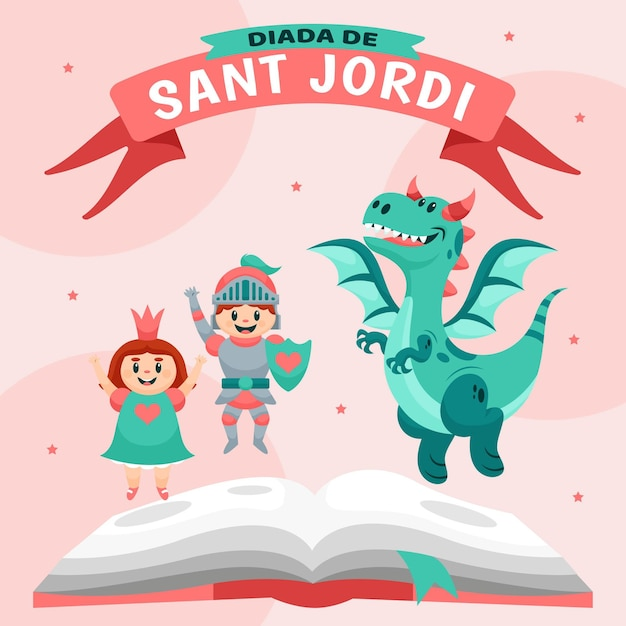 Cartoon diada de sant jordi illustratie met ridder en prinses en draak Gratis Vector
