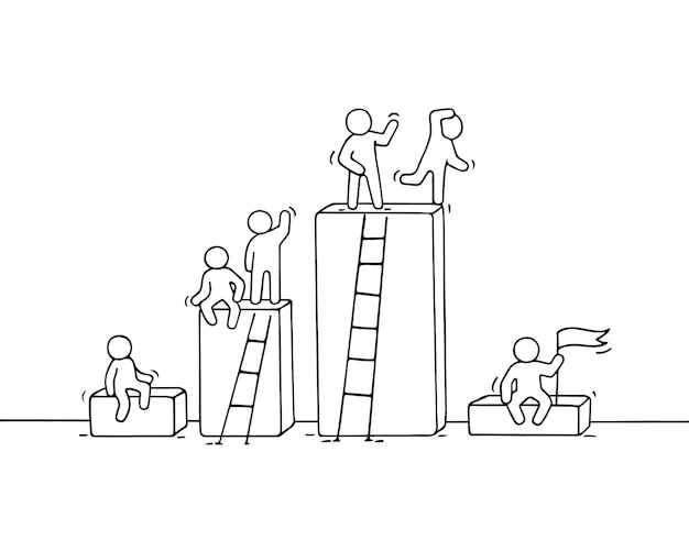 Cartoon diagram met werkende kleine mensen. doodle schattig miniatuur teamwerk. hand getrokken illustratie voor bedrijfsontwerp en infographic. Premium Vector