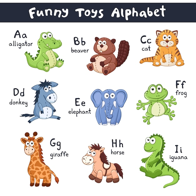 Cartoon dieren alfabet Premium Vector