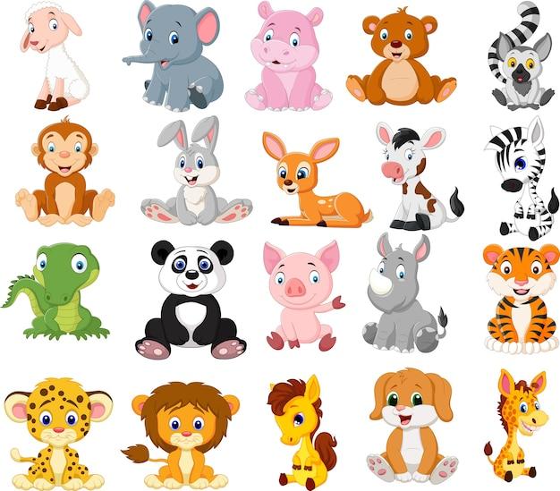 Cartoon dieren collectie set Premium Vector