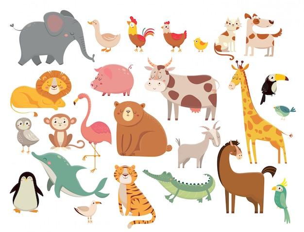 Cartoon dieren. leuke olifant en leeuw, giraf en krokodil, koe en kip, hond en kat ingesteld Premium Vector