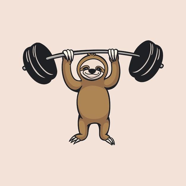 Cartoon dierenluiaard tillen een halter schattig mascotte-logo op Premium Vector