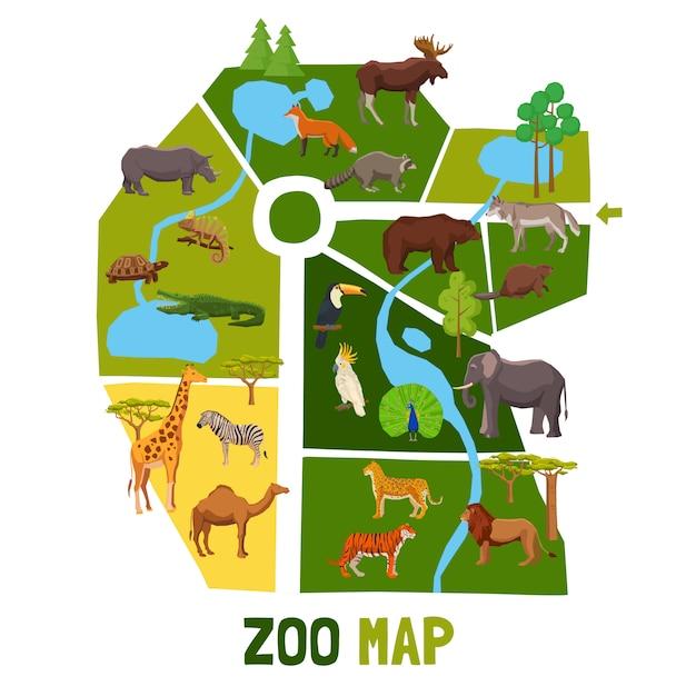 Cartoon dierentuin kaart met dieren Gratis Vector
