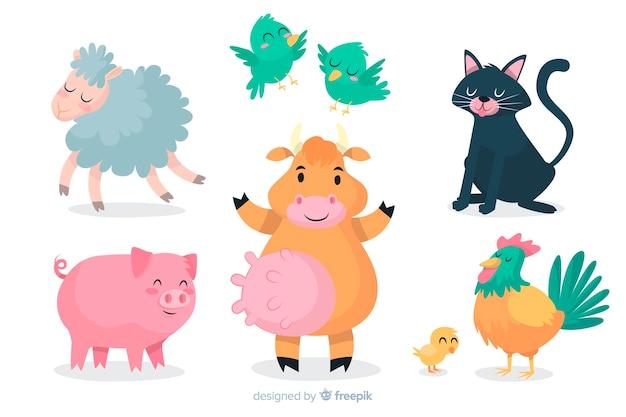 Cartoon dierlijke collectie artistiek ontwerp Gratis Vector