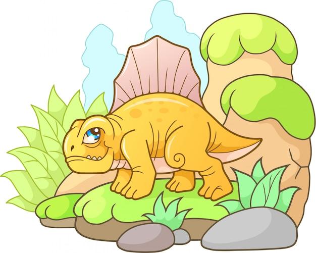 Cartoon dinosaurus dimetrodon Premium Vector