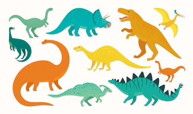 Cartoon dinosaurus set. leuke dinosaurussen icoon collectie. Premium Vector