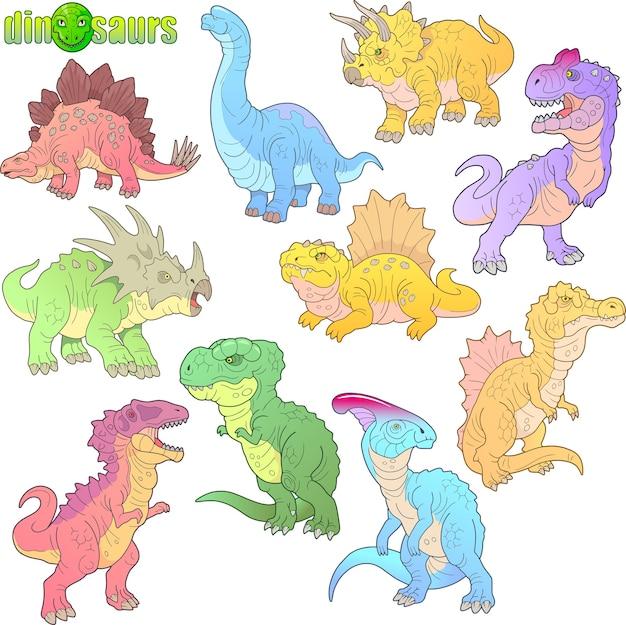 Cartoon dinosaurussen Premium Vector
