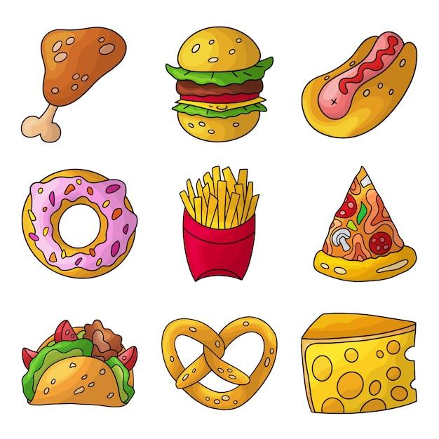Cartoon doodle fastfood set. Premium Vector