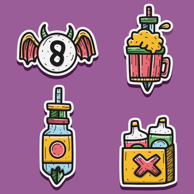 Cartoon doodle sticker ontwerp illustratie Premium Vector