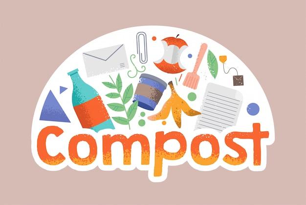 Cartoon doodle stijl illustratie in hipster stijl met verschillende rond afval. compost, geen afval, milieuvriendelijk, red de planeet van afval, hergebruikt, hogere fietsconcepten. ecobewustzijn bevorderen Premium Vector