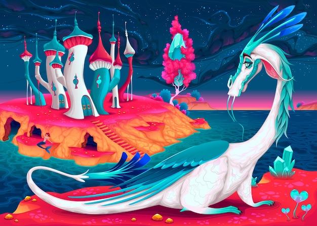 1405c5ca1d Cartoon draak in een fantasie wereld Vector illustratie Premium Vector