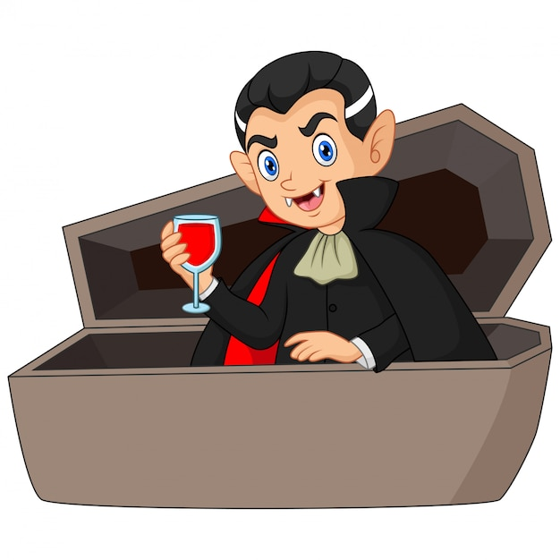 Cartoon dracula drinkt bloed in doodskist Premium Vector