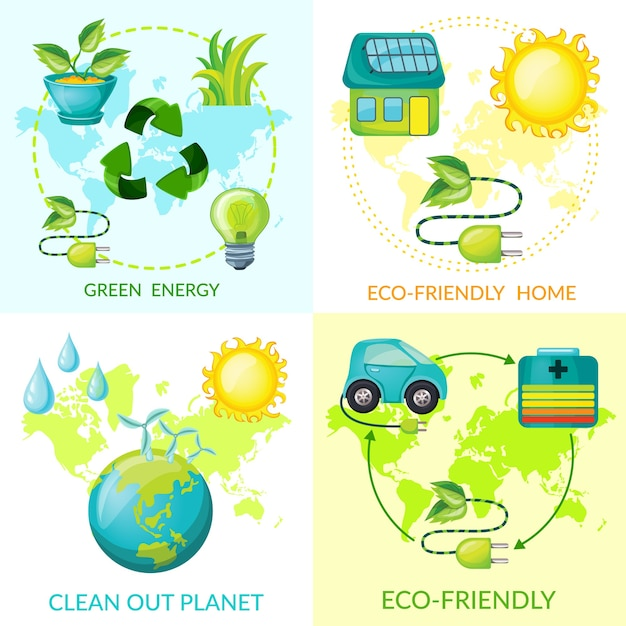 Cartoon ecologie concept Gratis Vector