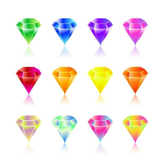 Cartoon edelstenen en diamanten pictogrammen Premium Vector