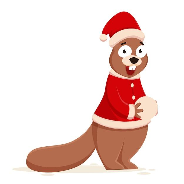Cartoon eekhoorn houden sneeuwbal en dragen kerstmuts met jas. Premium Vector