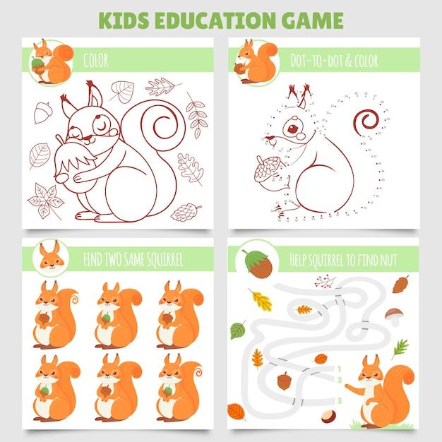 Cartoon eekhoorn kids games. zoek twee dezelfde afbeeldingen, doolhof van eekhoorn en noten, kleurspel en van punt naar punt Premium Vector