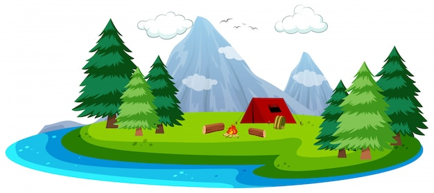 Cartoon eiland camping scène Premium Vector