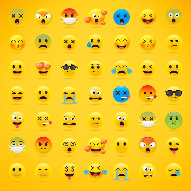 Cartoon emoji-collectie. Premium Vector