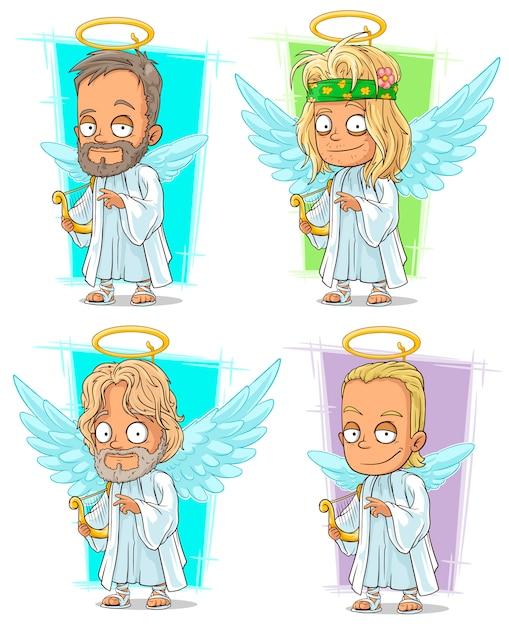 Cartoon engelen met nimbus en harp tekenset Premium Vector