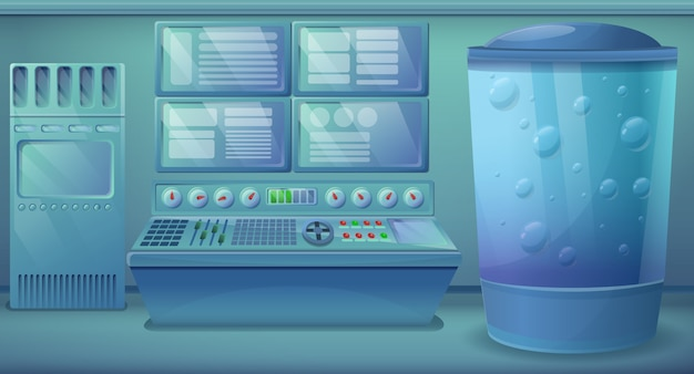 Cartoon engineering kamer met apparatuur, vectorillustratie Premium Vector