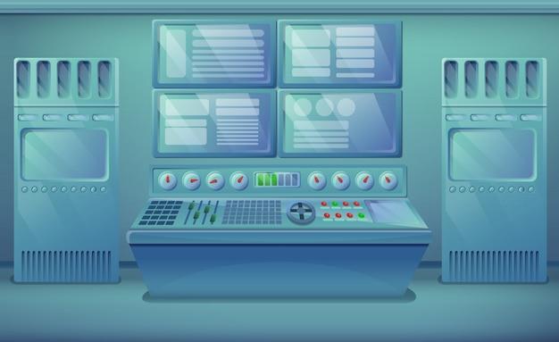 Cartoon engineering kamer met apparatuur, vectorillustratie Premium Vector