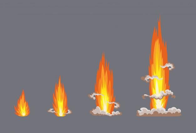 Cartoon explosie-effect met rook. komisch boomeffect, explodeer flits, bomkomisch, illustratie. frame sprite. animatieframes voor spel Premium Vector