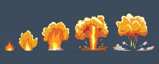 Cartoon explosie-effect met rook. komisch giekeffect, flits ontploffen, komisch bom, illustratie. frame sprite. animatieframes voor game. Premium Vector