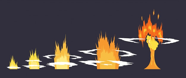 Cartoon explosie-effect met rook Premium Vector